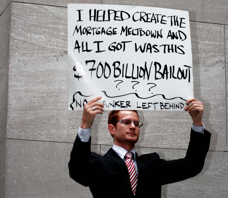 Bankers bailout protest in 2008