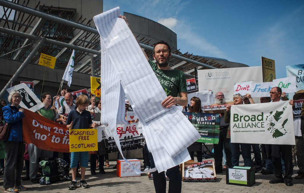 Campaigners celebrate 40,000 signatures against fracking in Scotland
