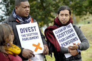Samuel Arregoces and Danilo Urrea visited Scotland from Colombia to protest investment in BHP Billiton. Image: Friends of the Earth Scotland