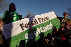 Campaigners with a Fossil Free Scotland at COP23