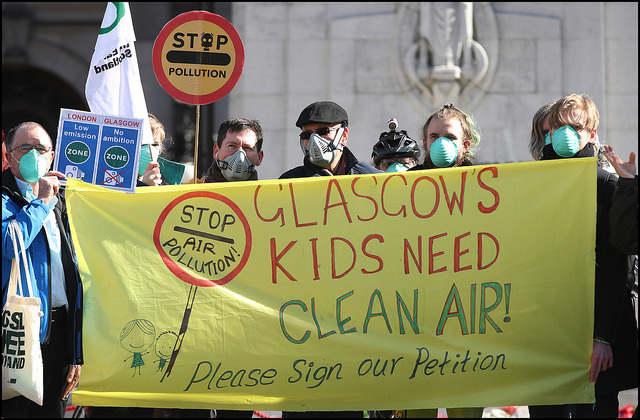 Air pollution protestors in Glasgow