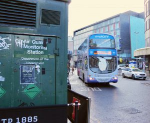 Air pollution monitor and buses Glasgow