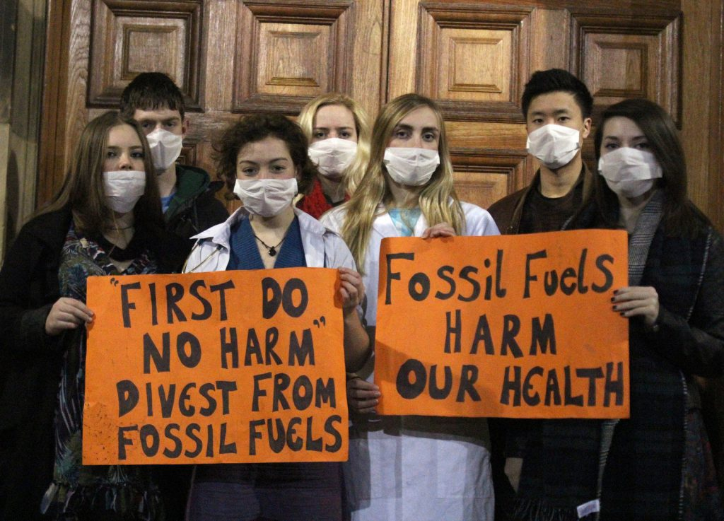 Protestors calling for divestment from fossil fuels