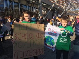Youth climate strikers outside Scottish Parliament, Edinburgh 2019