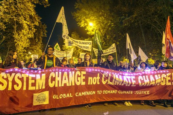 System Change not Climate Change Banner, Madrid 2019