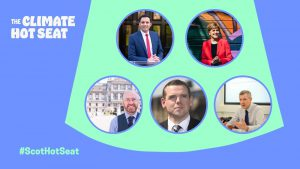 Graphic with blue background and green spotlight. images of 5 Scottish party leaders featured in the spotlight.